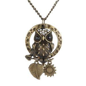 Antique Bronze Owl Charm Necklace